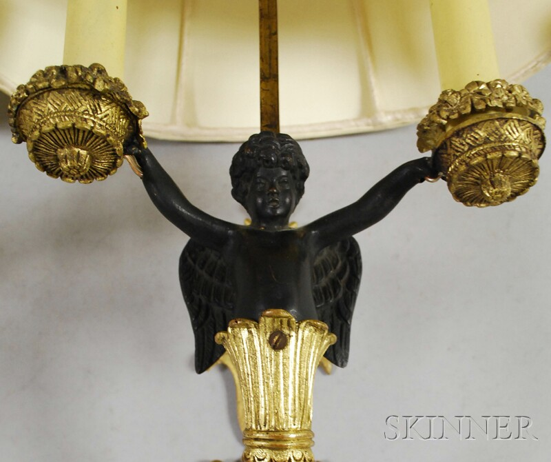 Pair of Neoclassical-style Part-ebonized Gilt-bronze Figural Two-light Wall   Sconces with Adjustable Silk Shades