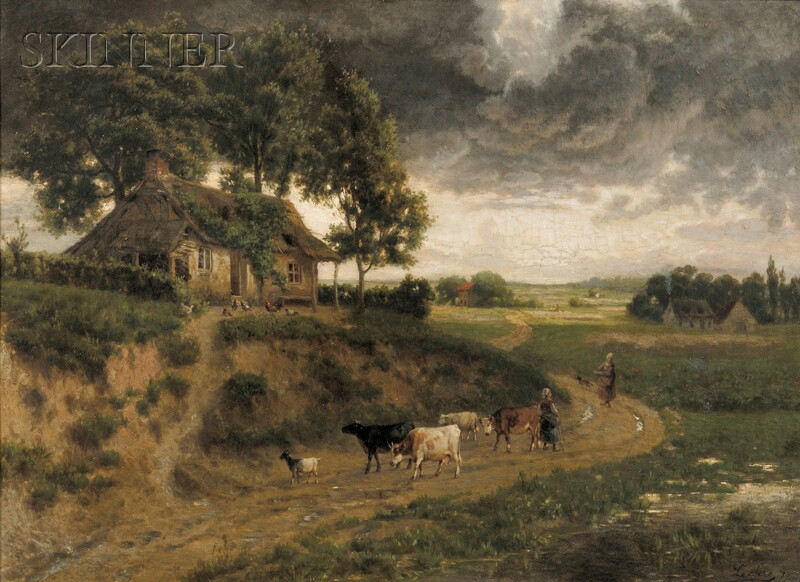 Continental School, 19th Century      Shepherdesses on a Country Path