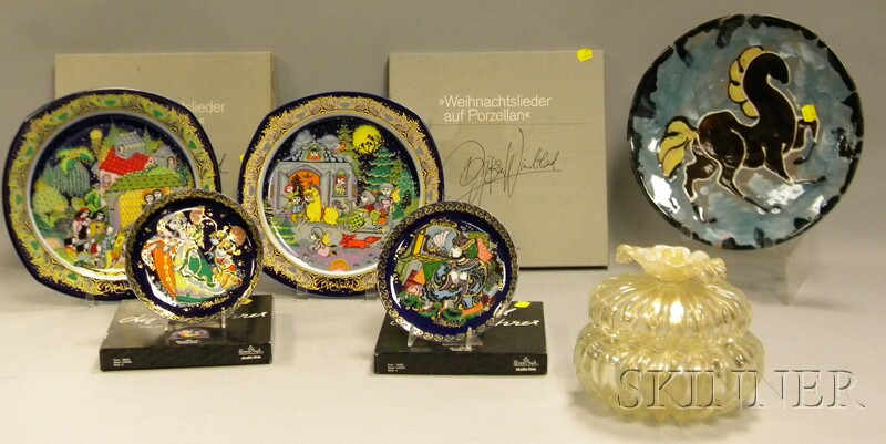 Murano Art Glass Lobed Box with Cover, Four Bjorn Wiinblad/Rosenthal Collector   Plates, and a French Modern Pottery Plate