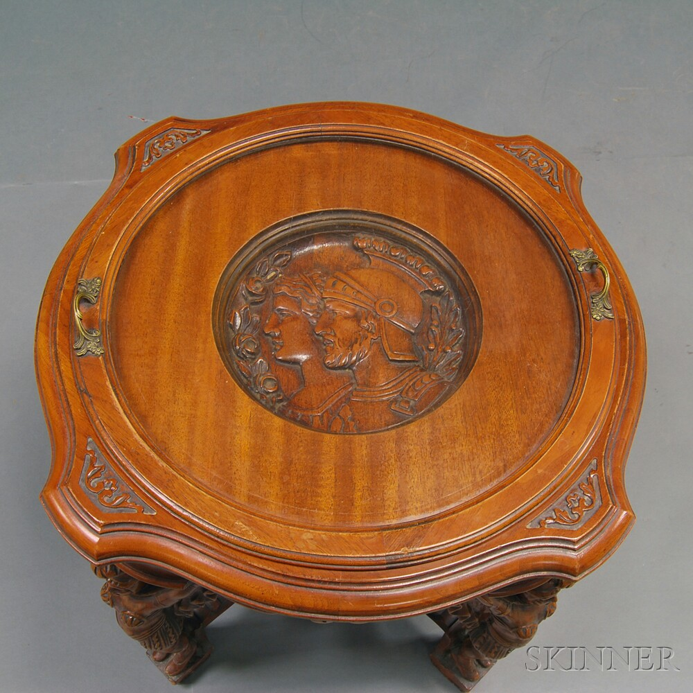 Classical-style Carved Walnut Glass-top Center Table