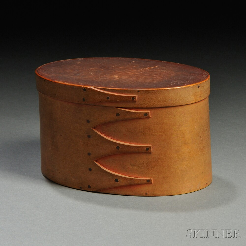 Shaker Covered Oval Box with Sewing Accessories