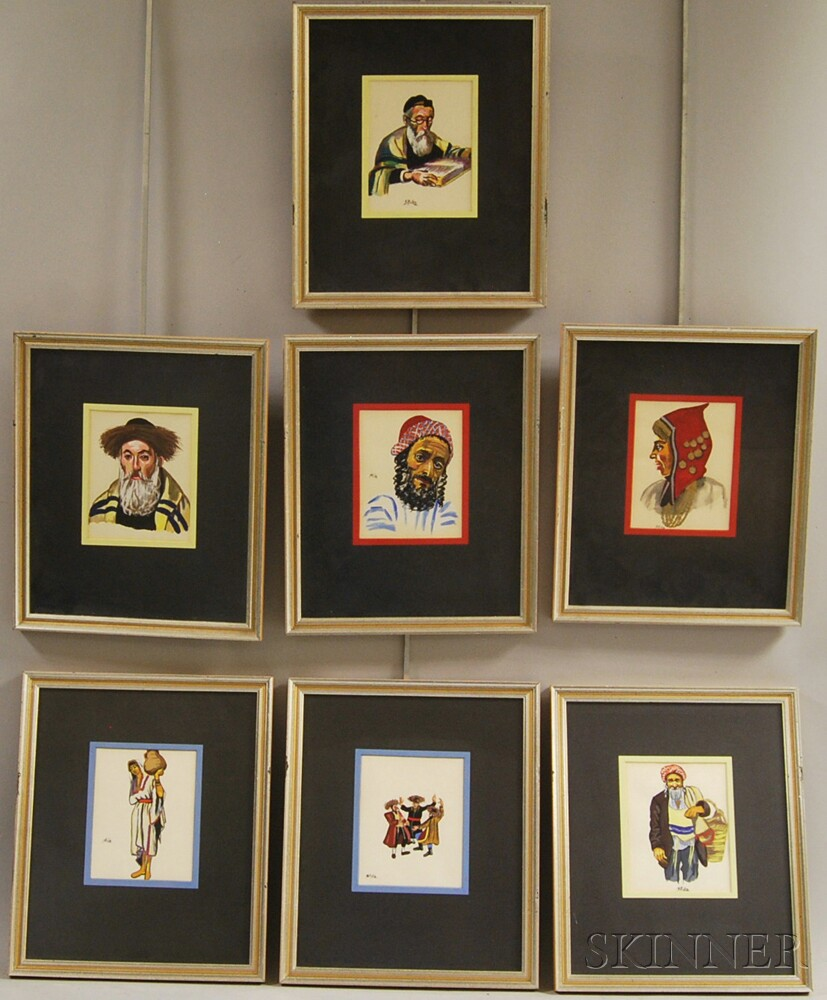 Israeli School, 20th Century      Seven Costume Sketches and Portraits.