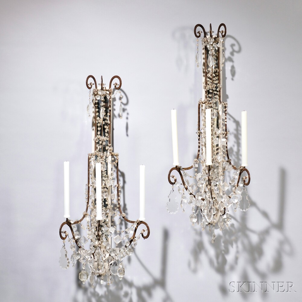 Pair of White Painted and Cut Glass Three-light Wall Sconces