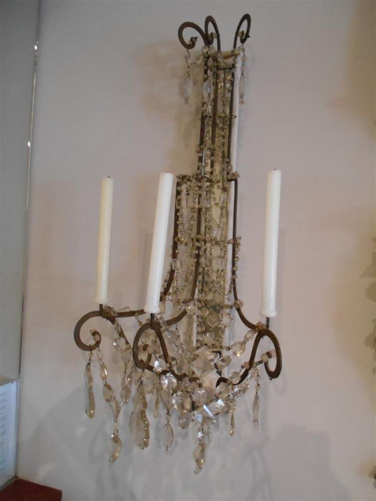Pair of White Painted and Cut Glass Three-light Wall Sconces Sale Number 2888B, Lot Number 405 ...