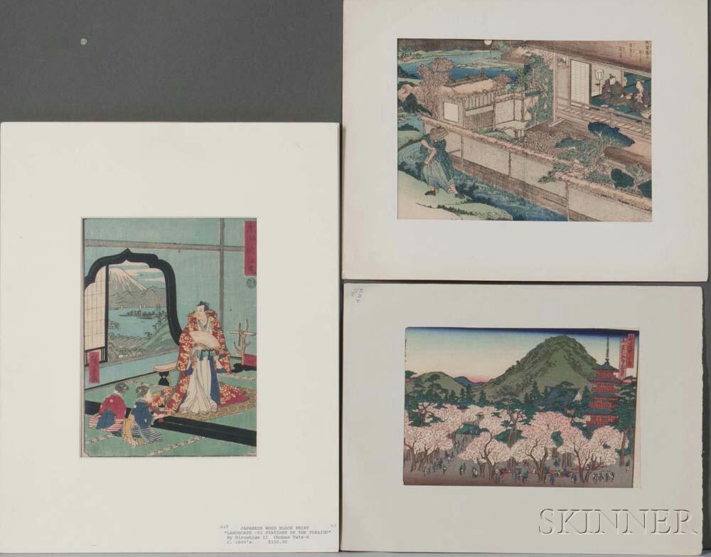 Shigenobu, Sadanobu and Hiroshige II, Three Woodblock Prints