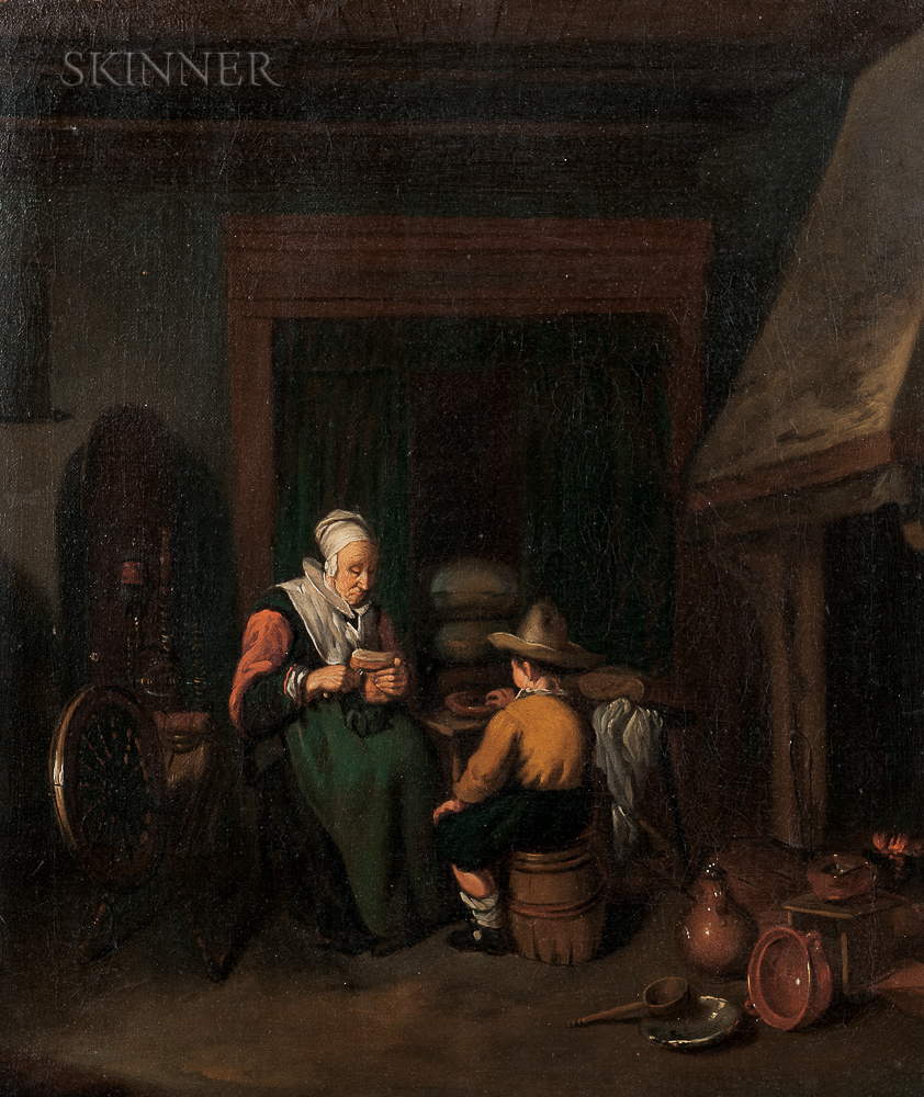 Manner of Quiringh Gerritsz van Brekelenkam (Dutch, c. 1622–1668)      Grandmother and a Boy Snacking by a Hearth