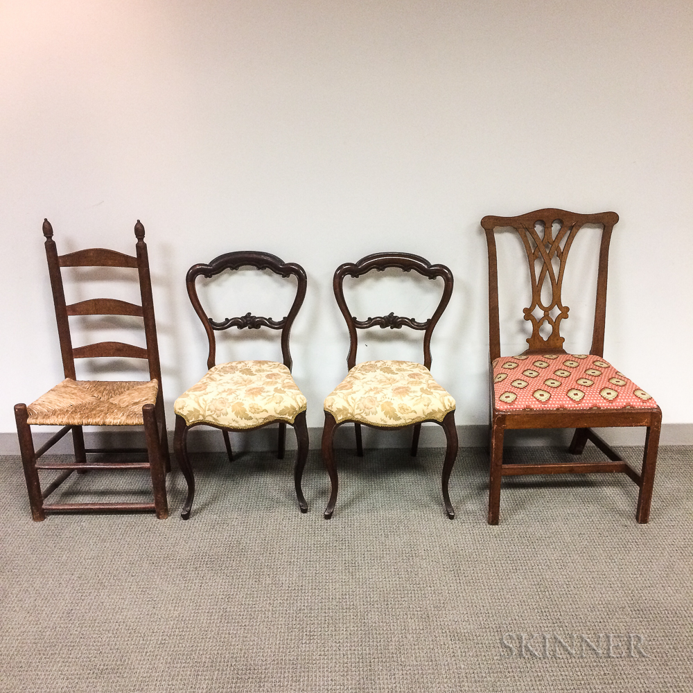 Pair of Rococo Revival Rosewood Side Chairs, a Chippendale Mahogany Side Chair, and a Ladder-back Side Chair.     Estimate $20-200