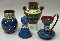 Longpark Ladybird Hatpin Holder, an Aller Vale Ladybird Chamberstick and Vase, and a German Ladybug Vase.