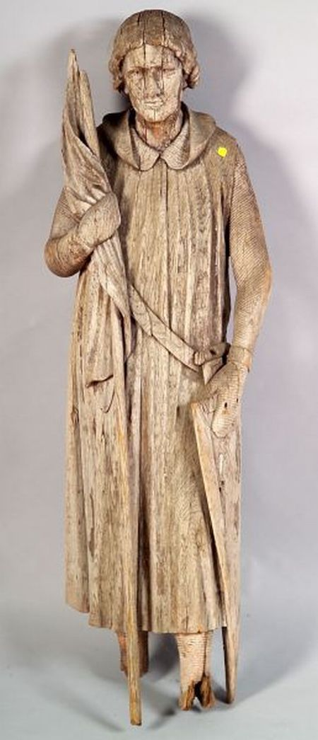 French Carved Oak Architectural Figure of a Knight Saint