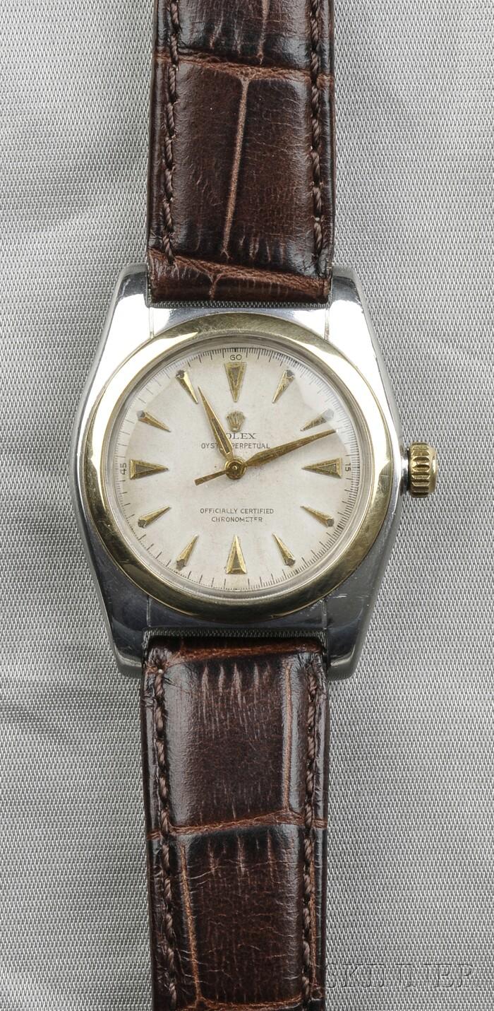 "Stainless Steel ""Bubble Back"" Wristwatch, Rolex"
