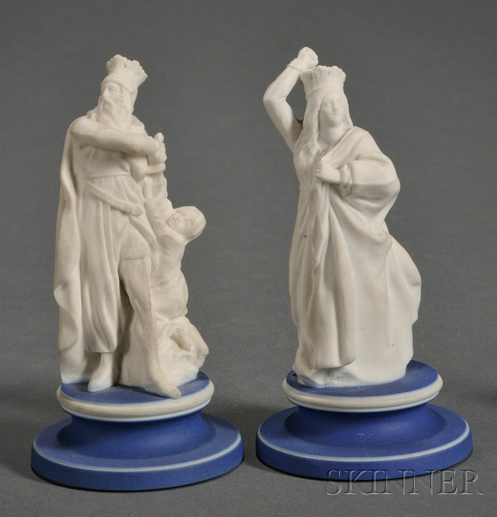 Wedgwood White Jasper Model of a Chess King and Queen