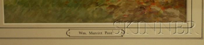 William Merritt Post (American, 1856-1935)      Autumn Trees by a Stream.
