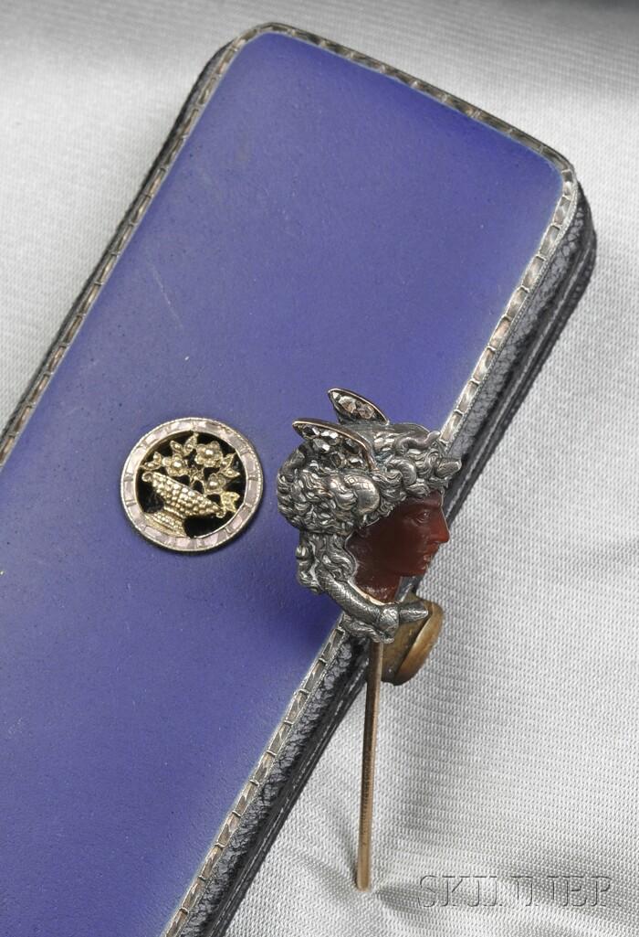 Antique Carnelian and Rose-cut Diamond Figural Stickpin