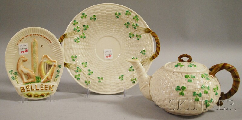 Three Belleek Porcelain Shamrock Items and a Collector's Society Sign