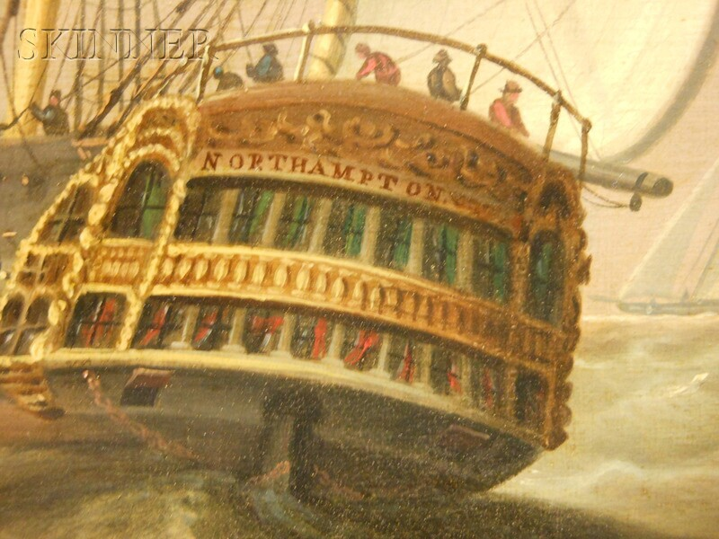 School of George Webster (British, 1797-1864)      The Vessel Northampton   and Small Sailing Craft Off the Coast
