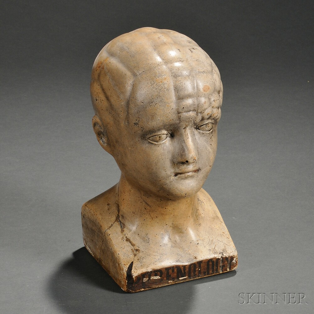Glazed Chalkware Phrenology Head