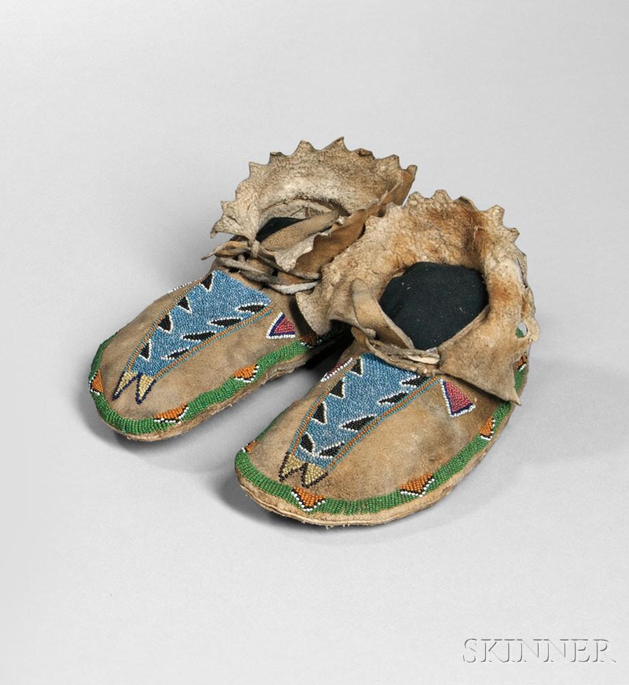 Scarce Pair of Paiute/Shoshone Beaded Hide Moccasins
