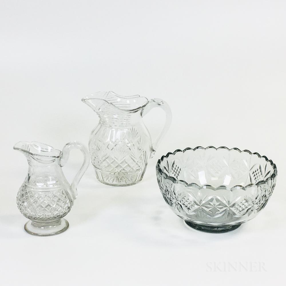 Three Colorless Cut Glass Vessels
