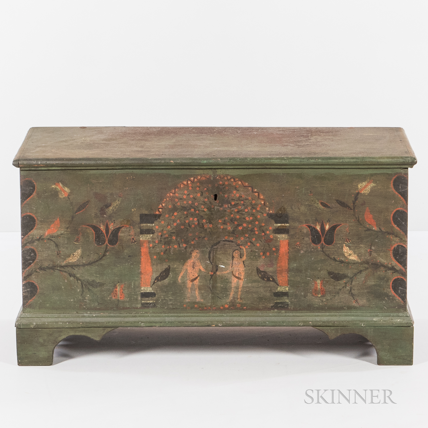 Paint-decorated Pine Dower Chest