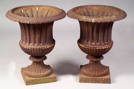 Pair of Classical-style Cast Iron Campagna-shaped Urns