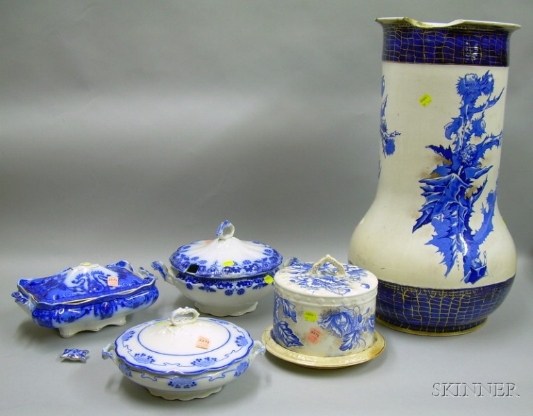 Four Pieces of Blue and White Transfer Decorated Staffordshire Tableware and a Floor   Vase