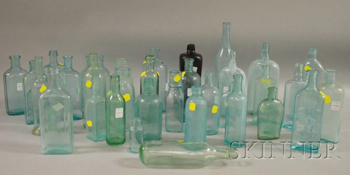 Approximately Thirty-four Aqua Molded and Blown Molded Glass Bottles