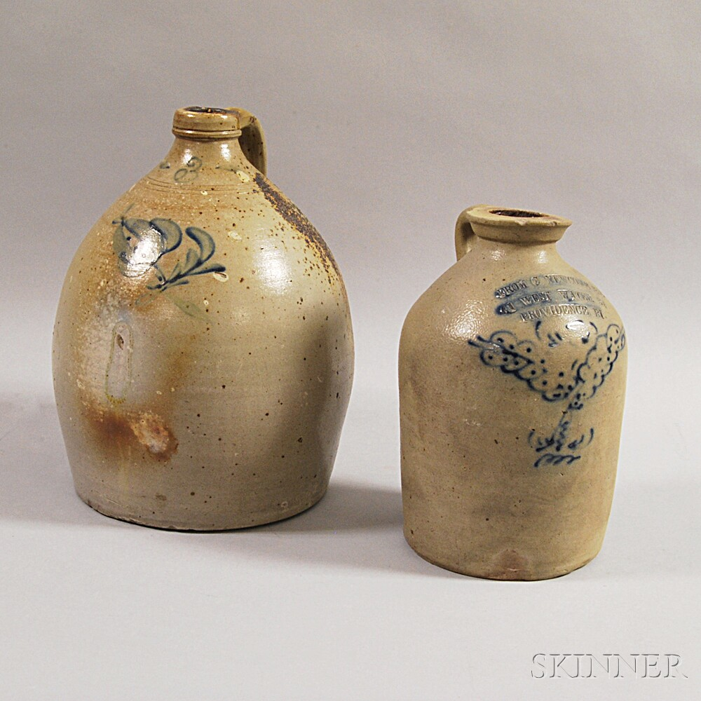 Two Cobalt-decorated Stoneware Jugs
