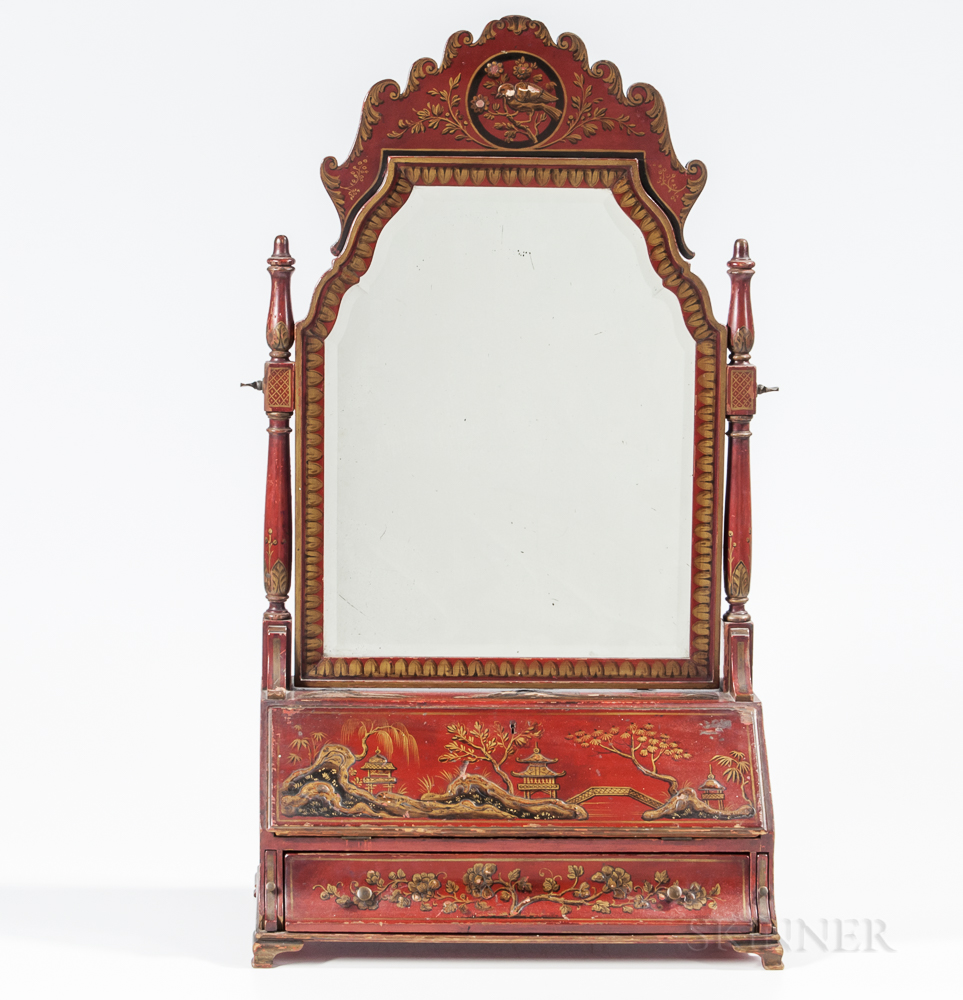Japanned Table Desk with Mirror