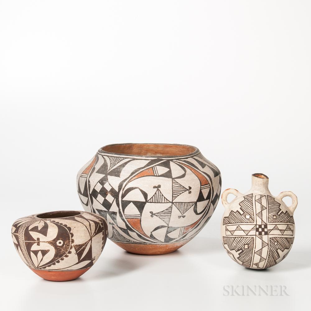 Three Acoma Polychrome Pottery Vessels