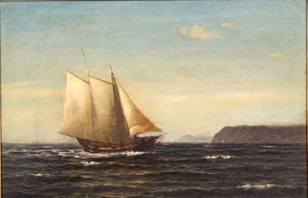 William Edward Norton (American, 1843-1916)    Schooner Sailing Before a Rocky Coast