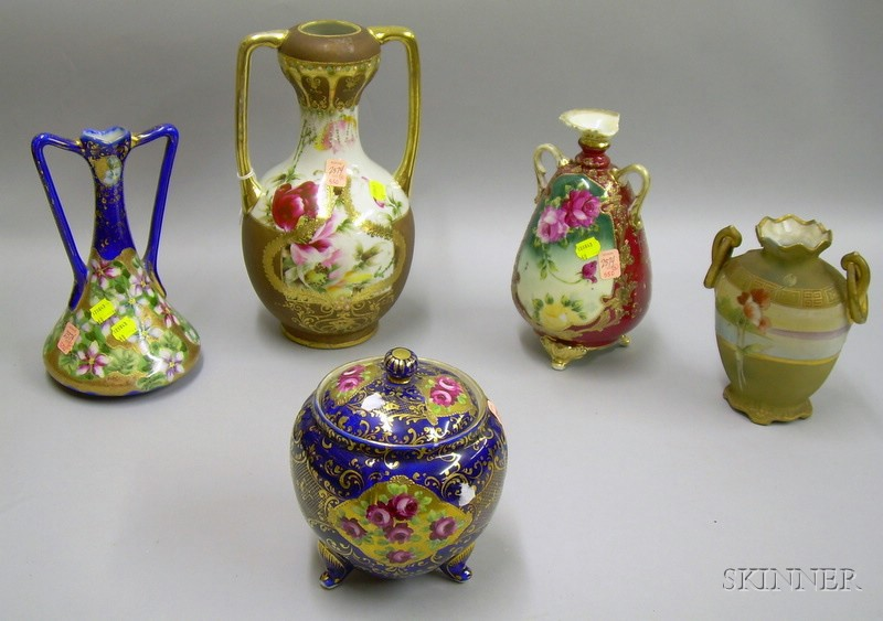 Five Japanese and Nippon Hand-painted Floral Decorated Porcelain Vases and a Cracker Jar.