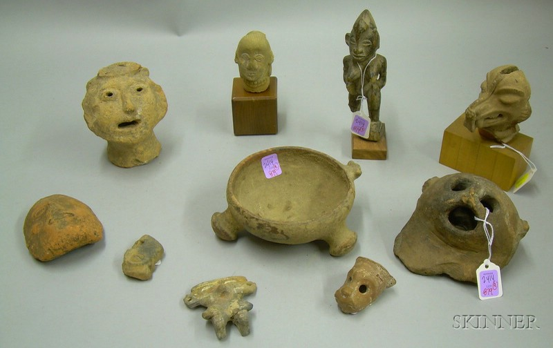 Ten African Carved Wood Figure and Pre-Columbian Pottery Fragments and Figural Articles.