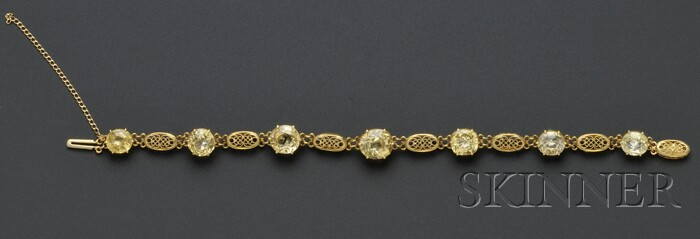 Arts & Crafts 18kt Gold and Yellow Sapphire Bracelet, Tiffany & Co.