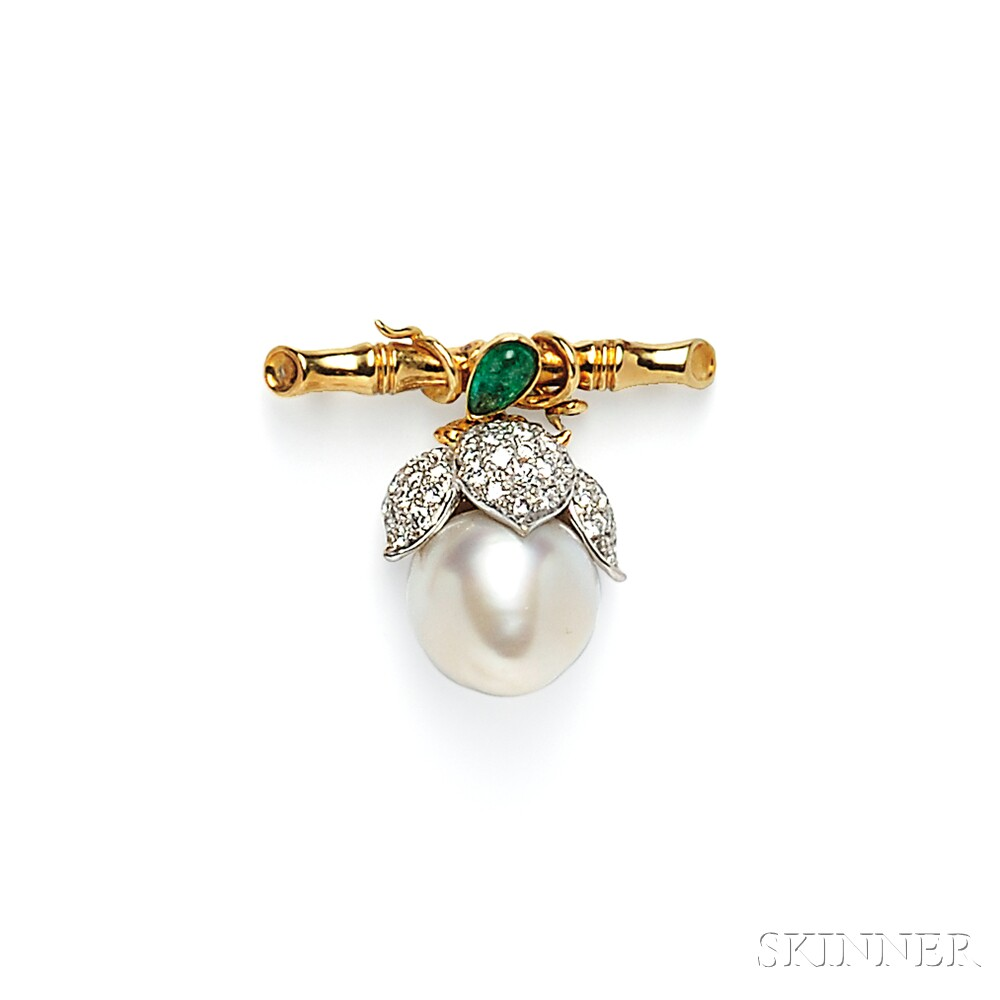 18kt Gold, Baroque South Sea Pearl, and Diamond Brooch
