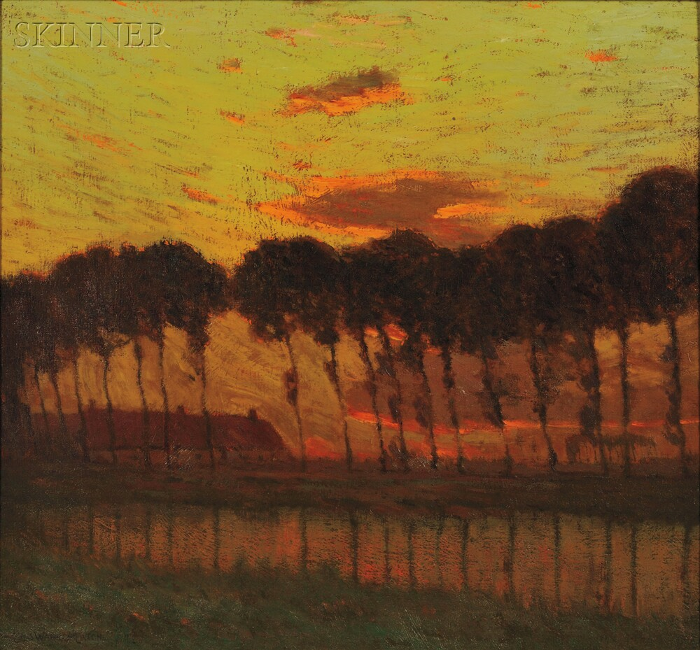 Charles Warren Eaton (American, 1857-1937)      Sunset Through a Row of Trees