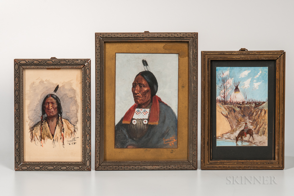 Three Paintings Depicting American Indians