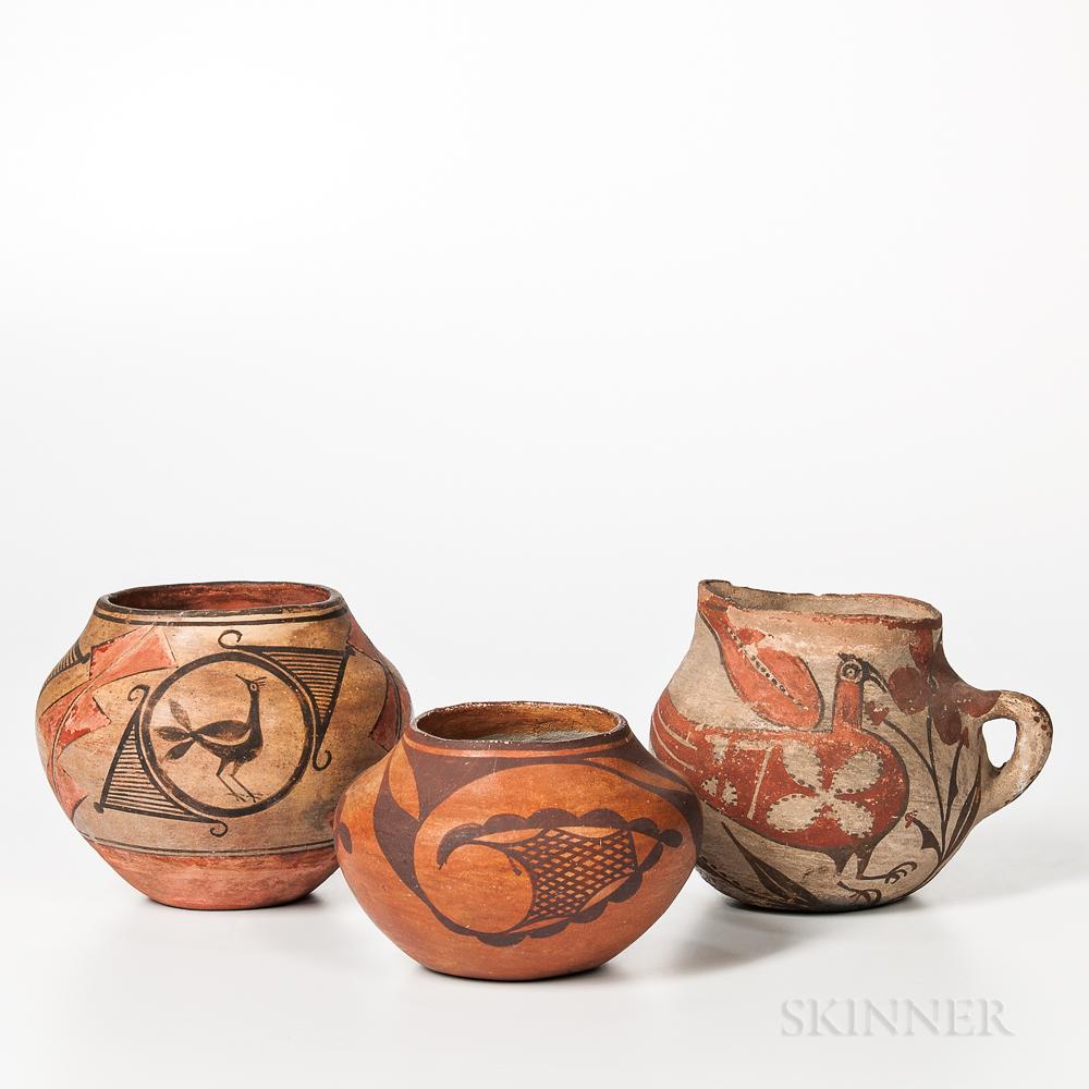 Three Southwest Polychrome Pottery Vessels