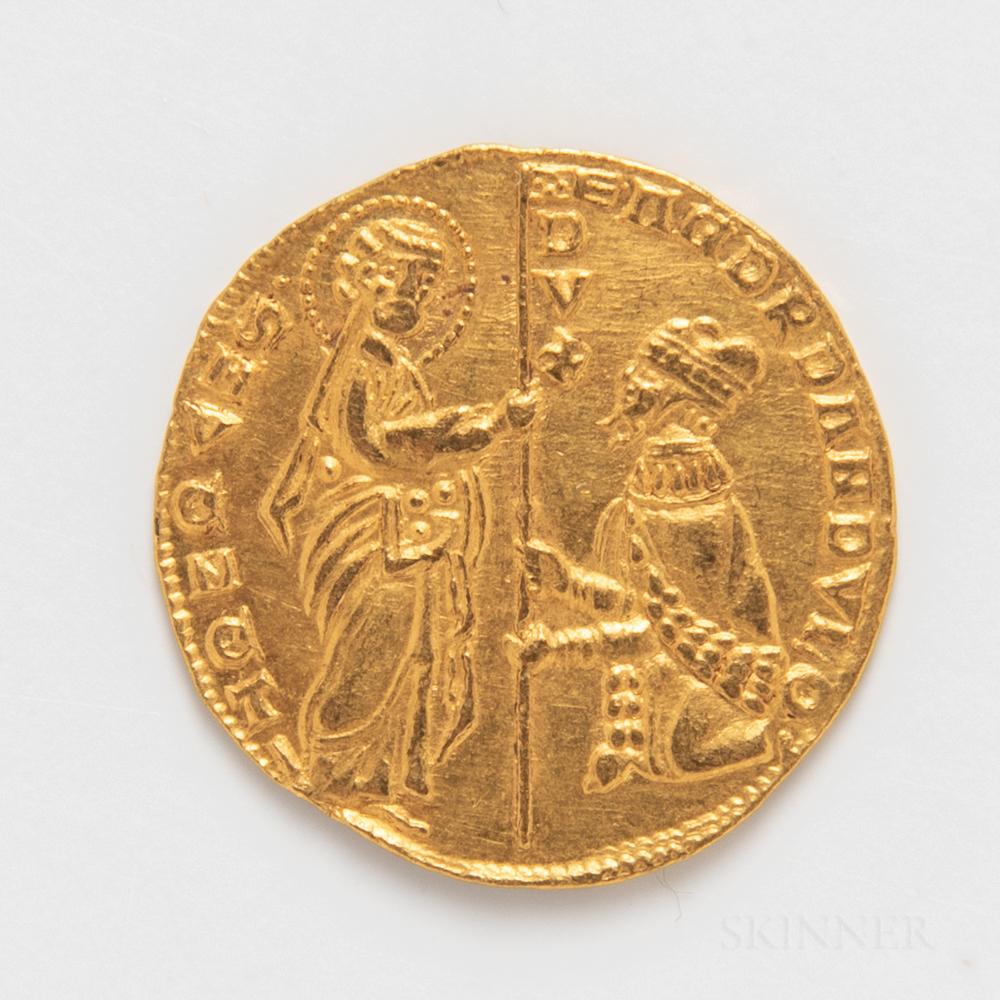 Venetian Andrea Dandolo Gold Zecchino.     Estimate $300-500
