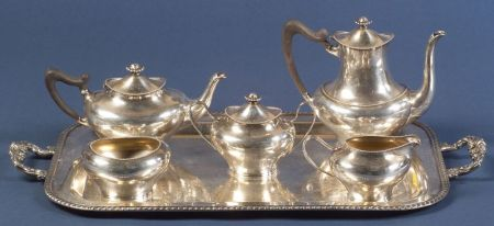 Towle Sterling Tea and Coffee Service with Plated Tray