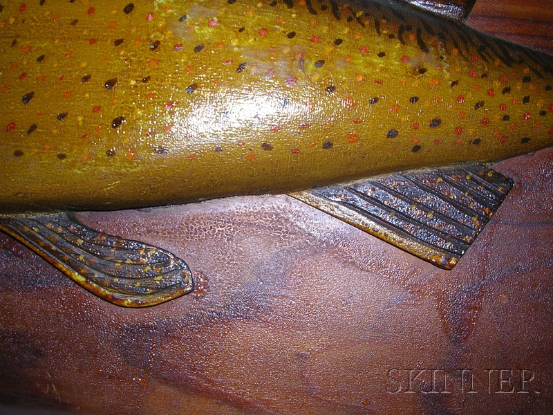 Carved and Painted Wooden Salmon Plaque