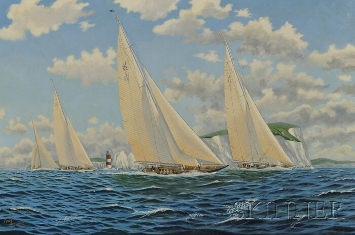 Andrew Bennett (British, 20th/21st Century)      Rounding the Needles, J Class Yachts, c. 1934