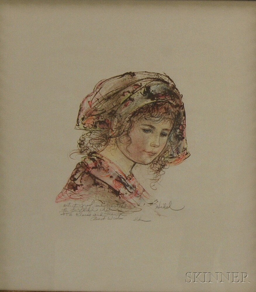 Edna Hibel (American, b. 1917)      Head of a Girl in a Kerchief.