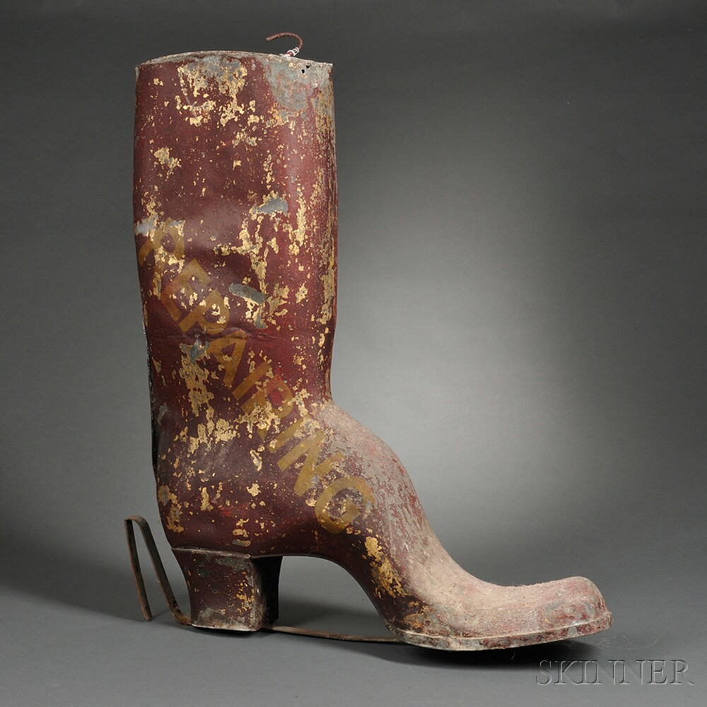 """Large Red-painted Molded Tin Boot-form """"REPAIRING"""" Trade Sign"""