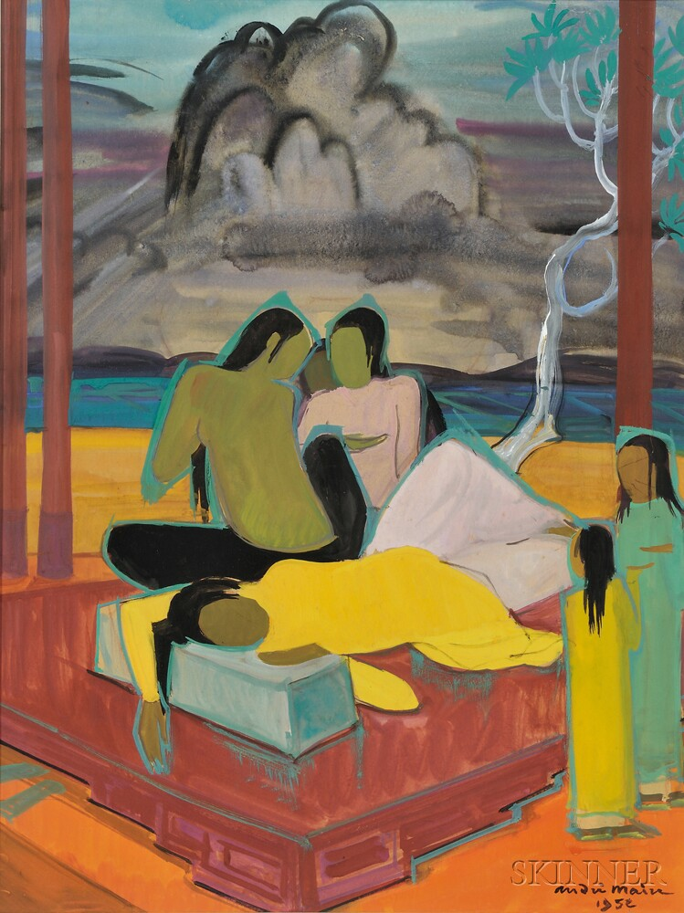 Andre Maire (1898-1984), Women and Children on the Beach
