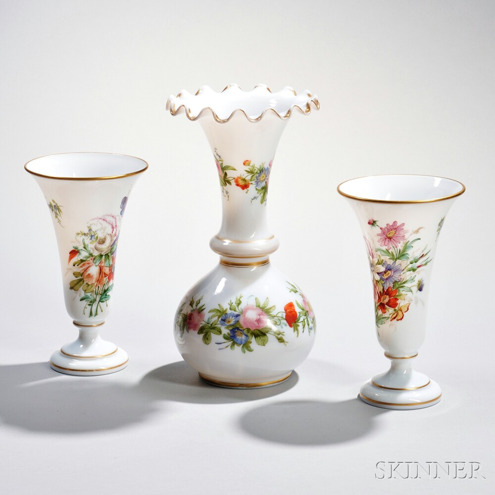Three Opaline Glass Vases