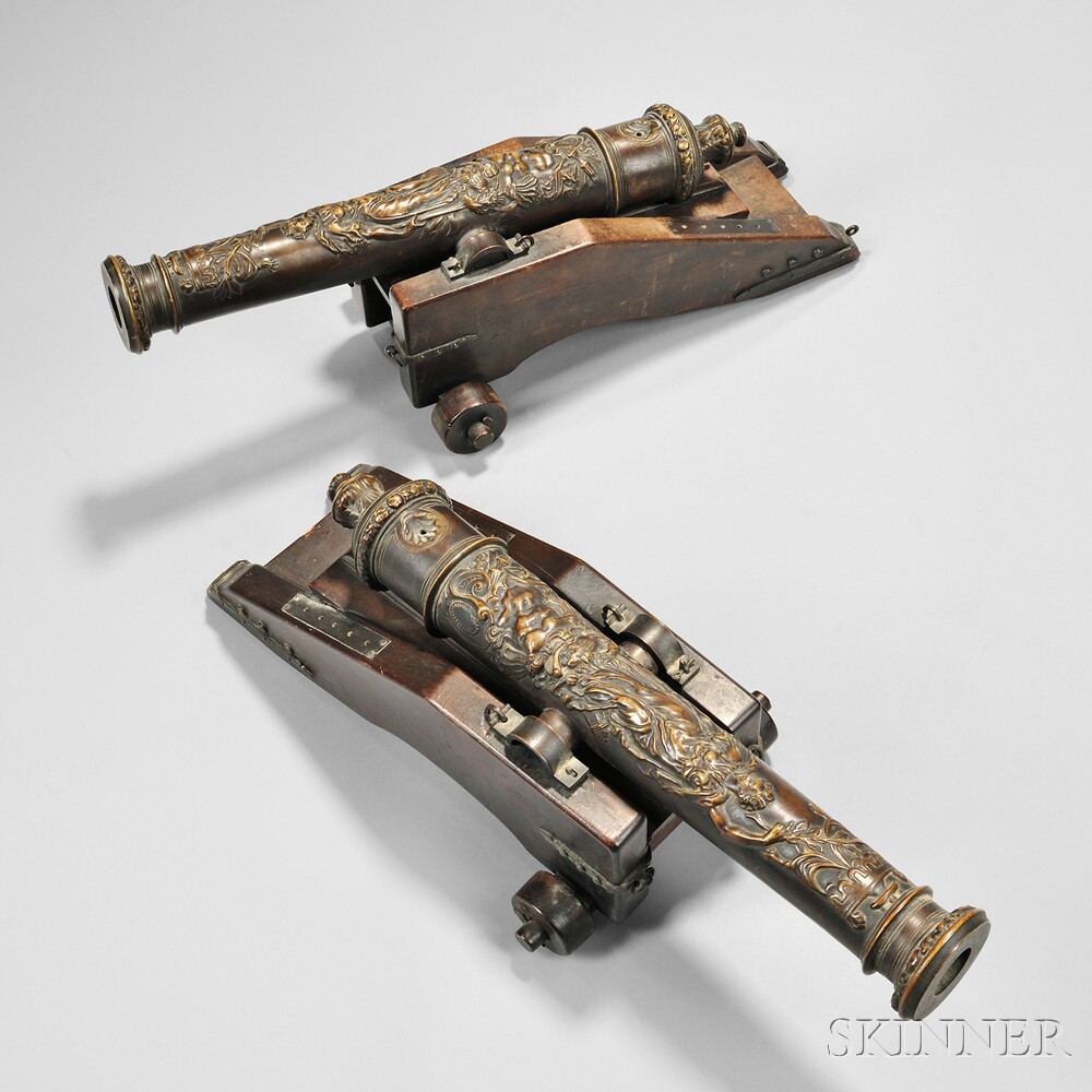 Pair of Gorham Foundry Bronze Cannons