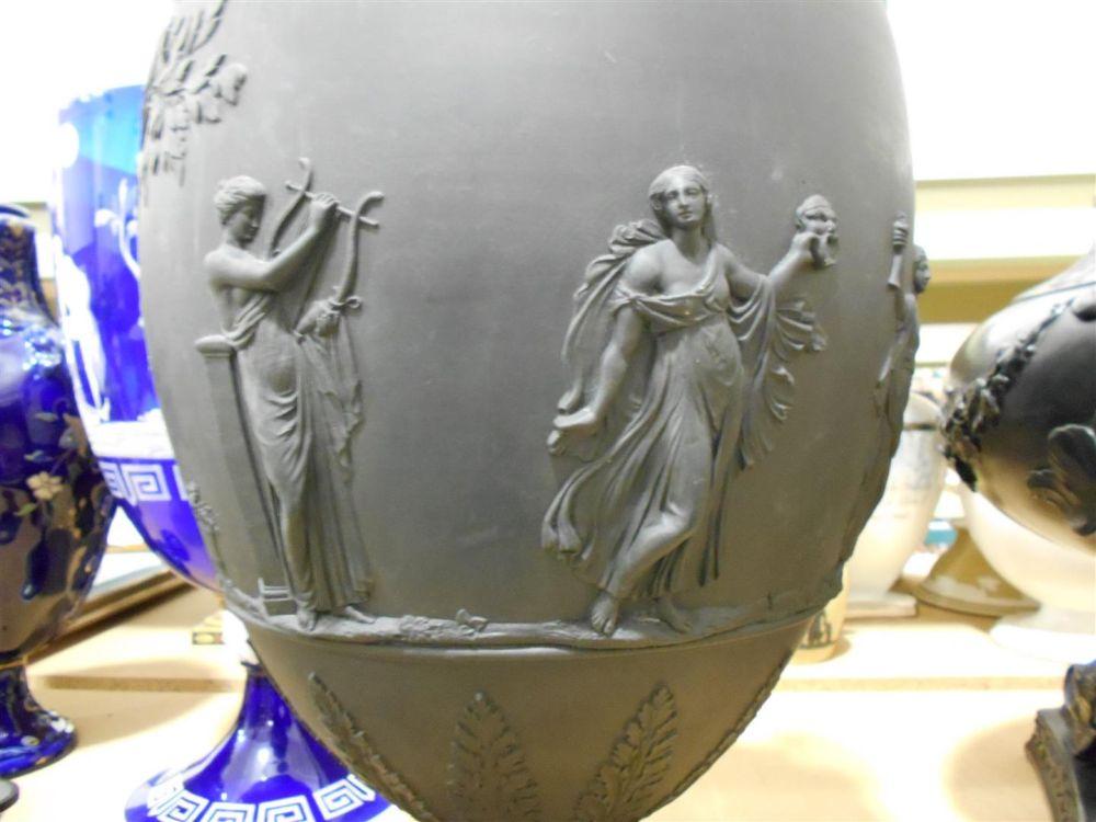 Large Wedgwood Black Basalt Vase and Cover