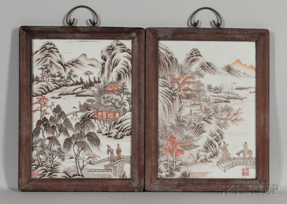 Pair of Porcelain Landscape Plaques