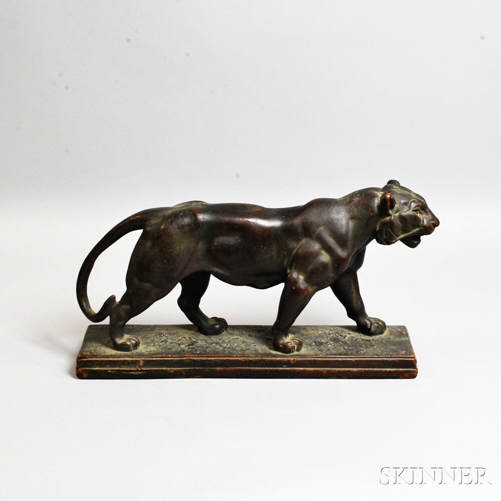 After Antoine-Louis Barye (French, 1796-1875) Bronze-clad Tiger