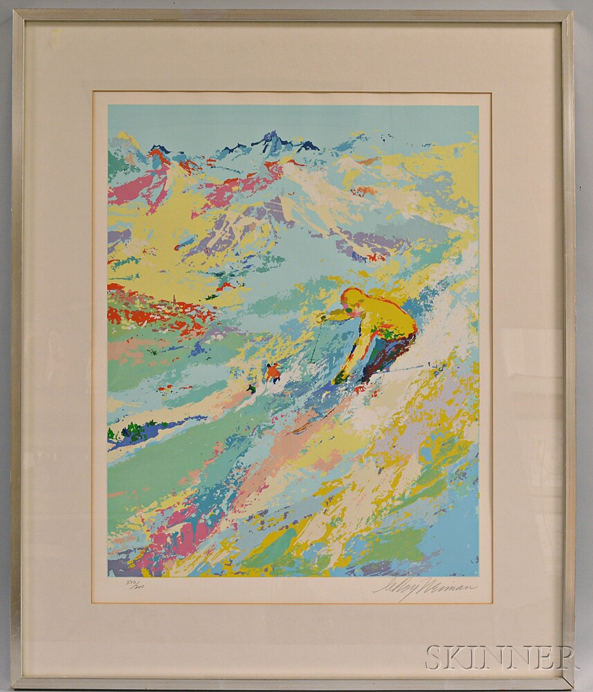 Framed LeRoy Neiman Lithograph of a Skier